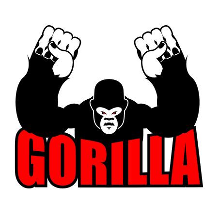 Angry gorilla. Aggressive big monkey. irritated wild animal.
