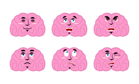 discouraged: Emotions brain. Set emoji avatar brains. Good and evil mind. Discouraged and cheerful. Sad and sleepy. Aggressive and cute