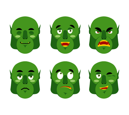 discouraged: Emotions ogre. Set emoji expressions avatar green monster. Good and evil goblin. Discouraged and cheerful. Sad and sleepy. Aggressive and cute Illustration