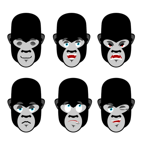discouraged: Gorilla emotions. Set expressions avatar monkey. Good and evil beast. Discouraged and cheerful. Sad and sleepy. Aggressive and cute animal