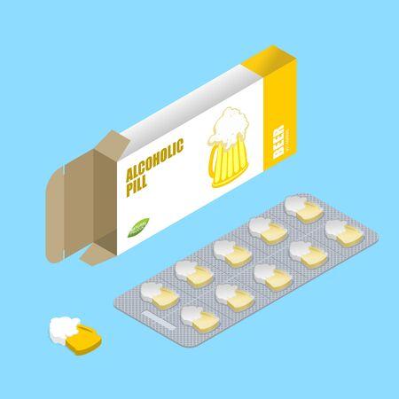 Pillole di birra in confezione. Compresse alcoliche. Pillole in scatola. Preparati naturali per alcolisti in forma di tazze di birra. Medicinali per l'alcool. Medicinali Vettoriali