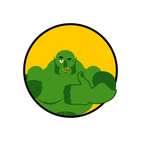 villain: Ogre thumbs up showing well. Sign all right. Jolly Green Monster. Hand showing ok. Gesture of hand Troll. Good Goblin. Illustration