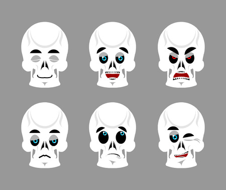 good and evil: Emotions skull. Set expressions avatar skeleton. Good and evil dead. Discouraged and cheerful. Sad and sleepy. Aggressive and cute