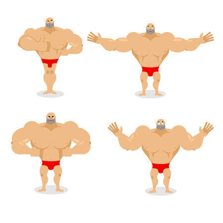 Muscled set poses. Expression of emotions athlete. Evil and good big man. Sad and happy man. Big strong bodybuilder.