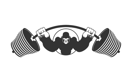 Angry strong Gorilla and  Barbell. athlete Aggressive big monkey. evil wild animal bodybuilder.