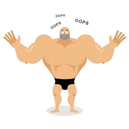 Surprised Muscled says oops. Spaortsmen perplexed. Struck by bodybuilder. Wide-eyed man