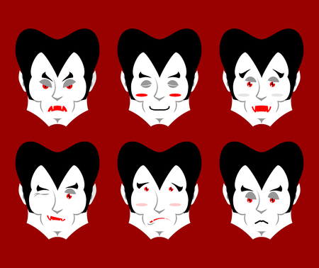 good and evil: Dracula Emotions. Set expressions vampire avatar. Good and evil. Surprise and fun. Sad and aggressive ghoul Illustration