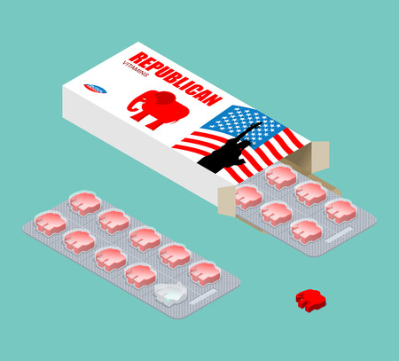 Republican vitamins. Political tablets. Pils in pack. Natural products for health in form of red elephant. USA election. Medical drugs for Republicans