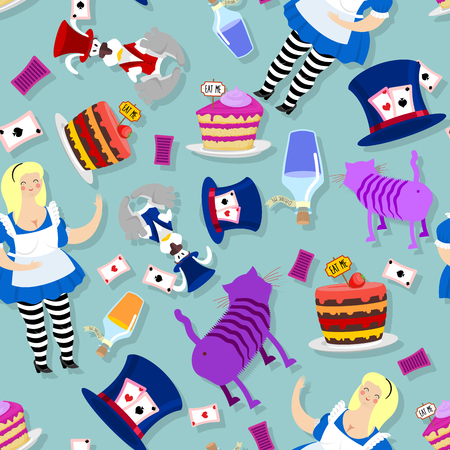 magic potion: Alice in Wonderland pattern. Fat woman and Cheshire cat. Rabbit in hat. Cylinder is Mad Hatter. Magic Potion and piece of cake