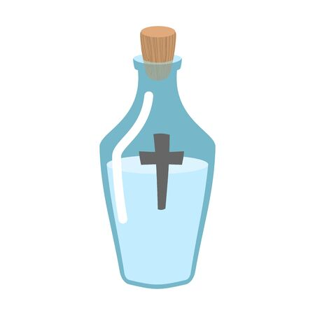 sanctified: Holy water bottle. Glass flask with magic liquid. Magical potion