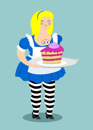 Alice in Wonderland. Cake eat me. Fat and old cheerful woman
