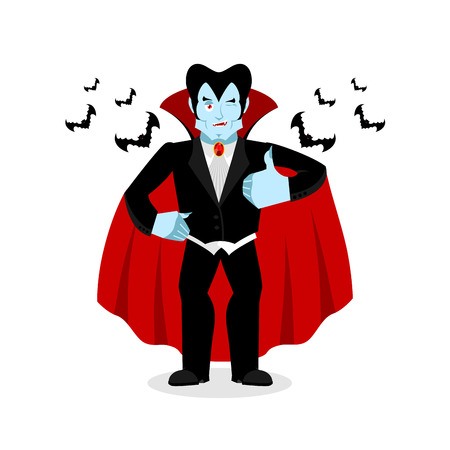 mimicry: Dracula Thumbs up shows well. Vampire winks. Sign all right. Jolly Good ghoul. Mimicry smile on his face. Gesture hands okay. Illustration for halloween. Bats and bloody moon