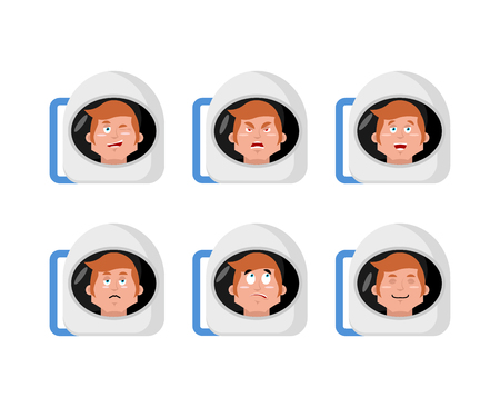 good and evil: Emotions astronaut. Set expressions avatar spaceman. Good and evil. Surprise and fun. Sad and aggressive. Space helmet Illustration
