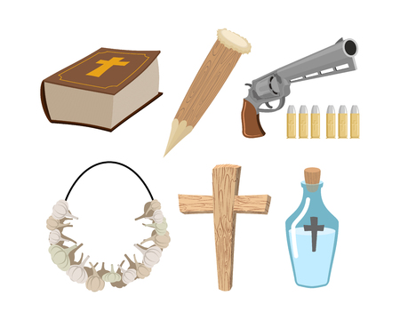 Weapons vampire hunter. Tools against undead. Garlic and silver bullets. Bible and holy water. Aspen stake and cross. Set to kill vampires Illustration