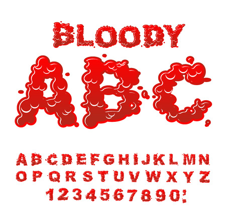 gore: Bloody ABC. Red liquid letter. Fluid lettring. Blood font of scarlet sign. Alphabet gore