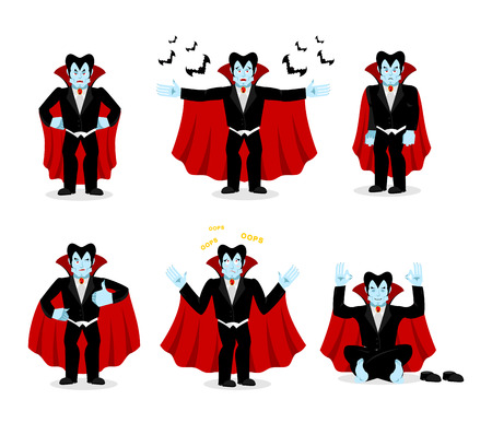 rejoice: Dracula set of movements. Vampire collection of poses. ghoul expression of emotion. Cheerful and surprised. Angry and happy Illustration