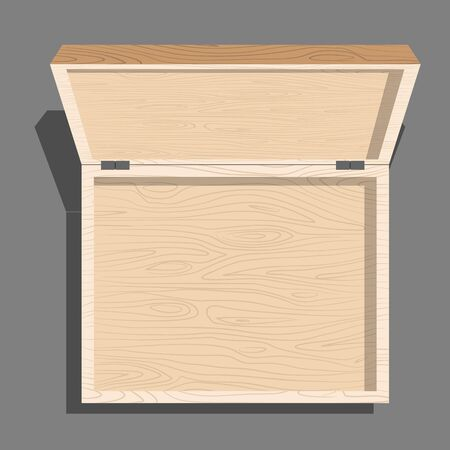 unblock: Empty open wooden box top view. Case isolated from boards. Unblock cover container