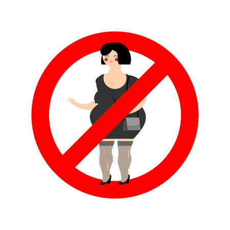 Stop prostitute. Prohibited paid love. Crossed-out woman. Emblem against for free money. Red prohibition sign. Ban