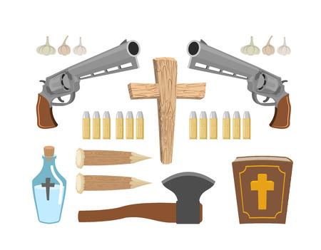 Waffen Vampirjäger. Werkzeuge gegen Untote. Knoblauch und silbernen Kugeln. Bibel und Weihwasser. Aspen dem Spiel und Kreuz. Set Vampire zu töten