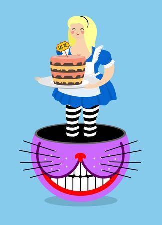 cheshire cat: Alice in Wonderland and Cheshire Cat. Old fat woman and shabby fabulous animal