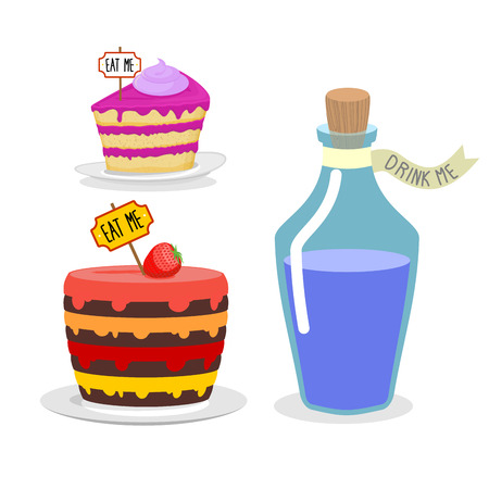 drink me: Eat me cake. Drink Me potion. Set meal for Alice in Wonderland. Big birthday pie with cherries. Blue Magic elixir in bottle Illustration