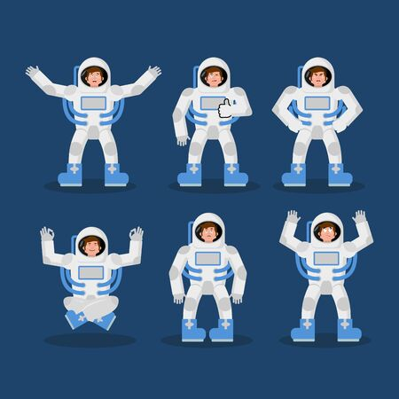 Astronaut set of movements. spaceman set of poses. Cosmonaut expression of emotion. Cheerful and surprised. Angry and happy