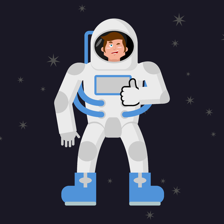 mimicry: Astronaut Thumbs up shows well. Cosmonaut winks. Sign all right. Jolly Good astronaut. Mimicry smile on his face. Gesture of hand in order. Open dark space and stars Illustration
