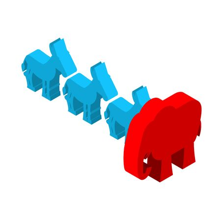 Red Elephants against blue donkey. Symbols of USA political party. Democrats vs Republicans. Elections in  United States