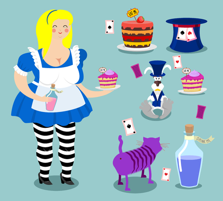cheshire cat: Alice in Wonderland icon set. Fat woman and Cheshire cat. Rabbit in hat. Cylinder is Mad Hatter. Magic Potion and piece of cake