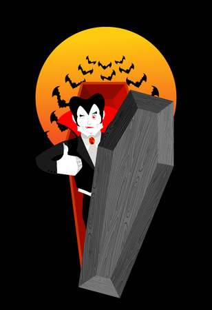 mimicry: Dracula in coffin Thumbs up shows well. Vampire winks. Sign all right. Jolly Good ghoul. Mimicry smile on his face. Gesture hands okay. Illustration for halloween. Bats and bloody moon