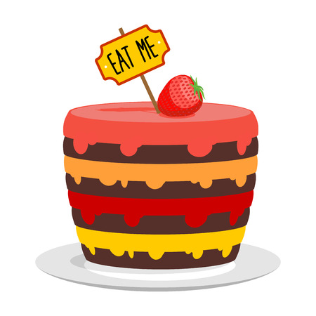 Eat me. Big cake with strawberries. Magic pie from Alice in Wonderland