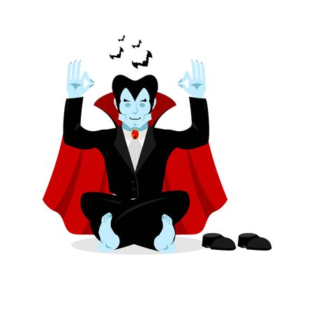 meditates: Vampire yoga. Dracula meditates on white background. Status of nirvana and enlightenment. lotus Pose
