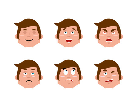 good and evil: Emotions man set. expressions avatar people collection. Good and evil. Surprise and fun. Sad and aggressive manager Illustration