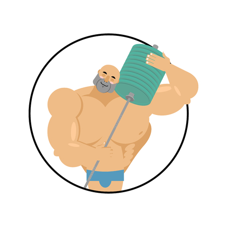 I love fitness. athlete hugs barbell. Bodybuilder and sports equipment. emblem for lover sport Illustration