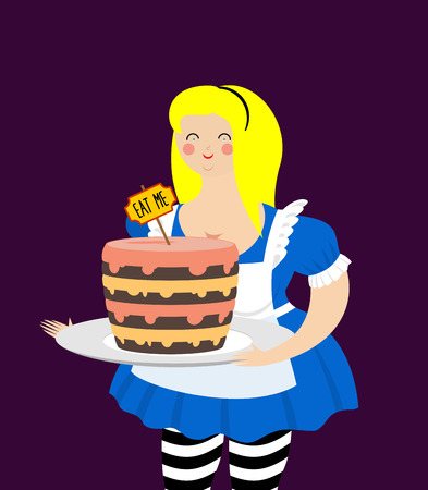 eat me: Alice in Wonderland. Cake eat me. Fat and old cheerful woman