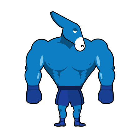 Democrat Donkey boxer. Strong Blue Animal boxing gloves. Symbol of political party of USA. Illustration America Elections