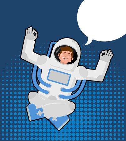 meditates: Astronaut meditates in a pop art style. Bubble for text. Zen and relaxation spaceman. Man in Space Suit knowledge and enlightenment. Yoga Space.
