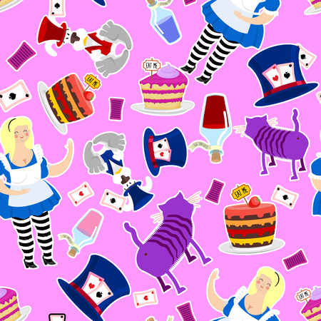 mad: Alice in Wonderland pattern. Fat woman and Cheshire cat. Rabbit in hat. Cylinder is Mad Hatter. Magic Potion and piece of cake