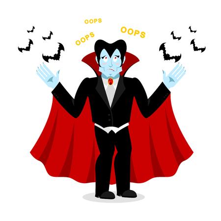 perplexed: ?Surprised Dracula. Perplexed vampire says OOPS. Ghoul and bats