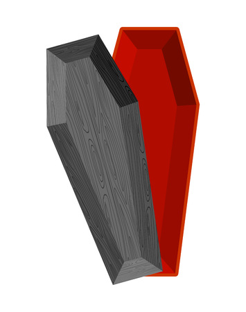 macabre: Black open coffin. Red interior of casket. Religious object for burial