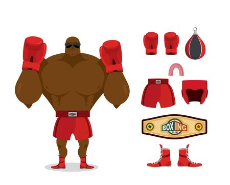 competitions: Boxer and accessory set. Sportsman champion. Sport Kit: boxing gloves and cap. pear and shorts. Protective helmet and boots. Belt winner fights and competitions