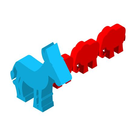 partisan: Red Elephants against blue donkey. Symbols of USA political party. Democrats vs Republicans. Elections in  United States