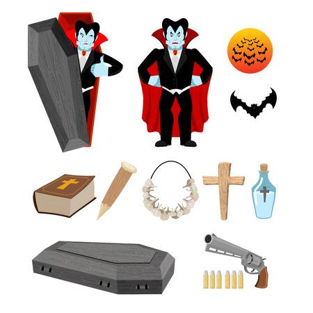 Dracula gesetzt. Vampire und Fledermäuse. Waffe gegen Vampire. Knoblauch und silbernen Kugeln. Bibel und Weihwasser. Aspen dem Spiel und Kreuz. Set für Ghul Zerstörung