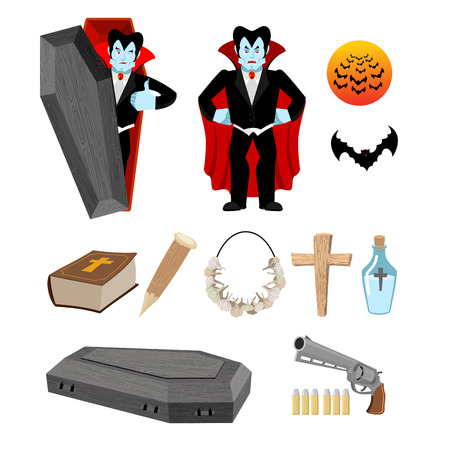 stake: Dracula set. Vampire and bats. Weapon against vampires. Garlic and silver bullets. Bible and holy water. Aspen stake and cross. Set for destruction ghoul