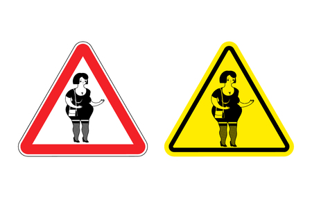 sex traffic: Warning sign prostitute attention. Dangers yellow sign paid love. Woman with red triangle. Set of road signs against sex for money. Attention Hooker Illustration