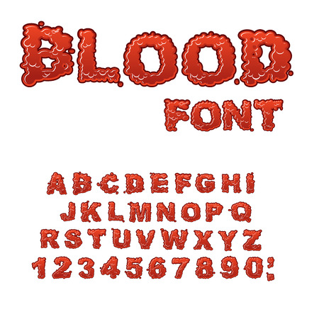 gore: Blood font. Red liquid letter. Fluid lettring. Bloody ABC of scarlet sign. Alphabet gore