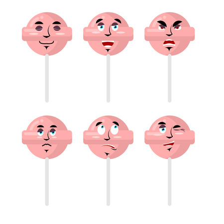 sweetmeats: Emotions lollipop. Set expressions avatar candy. Good and evil. Surprise and fun. Sad and aggressive sweetmeats Illustration