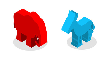 Elephant and Donkey isometrics. Symbols of USA political party. American Democrats against Republicans. Elections in United States Illustration