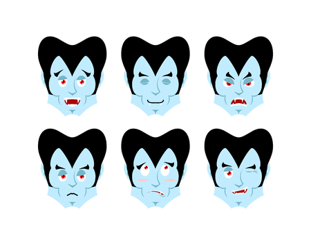 Dracula Emotions. Set expressions vampire avatar. Good and evil. Surprise and fun. Sad and aggressive ghoul Illustration
