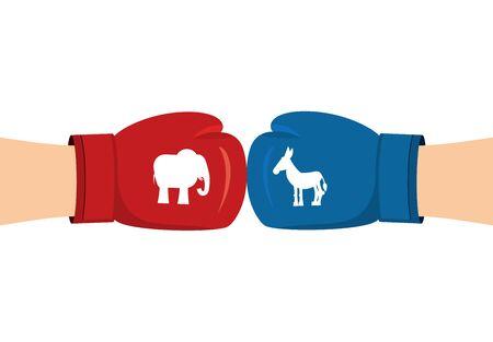 Elefant und Esel Boxhandschuhen. Symbole der USA politische Partei. Amerikanischen Demokraten gegen Republikaner. Wahlen in USA. Kampf um Stimmen